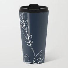 Flora, White and Pink on Navy Blue Travel Mug