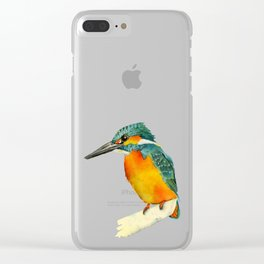 Kingfisher Bird Watercolor Painting Clear iPhone Case