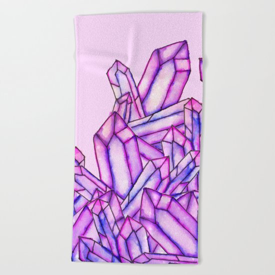 Pink purple watercolor paint crystals gem pattern Beach Towel