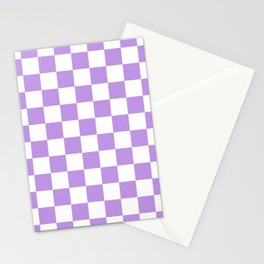 Checkered - White and Light Violet Stationery Cards