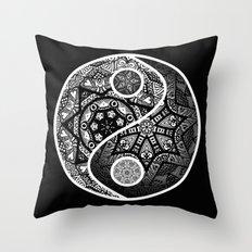 Yin Yang Zentangle Throw Pillow