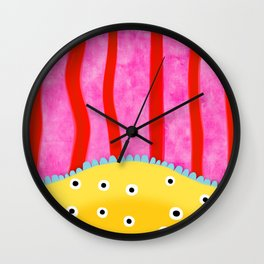 Vertical lines red pink poka dots yellow Wall Clock