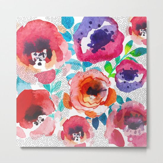 Watercolor flowers and circles Metal Print