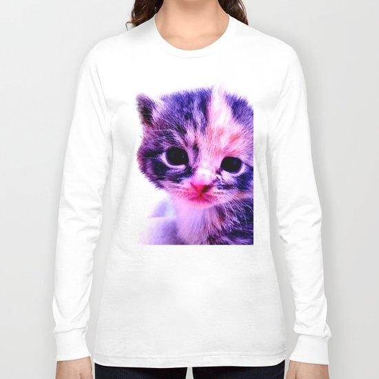 Blue Pink Cute Little Cat Long Sleeve T-shirt