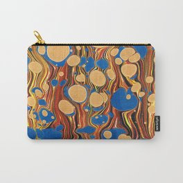 Vintage navy blue yellow orange abstract marble Carry-All Pouch
