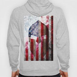 Molon Labe - Spartan Helmet Across An American Flag On Distressed Metal Sheet Hoody