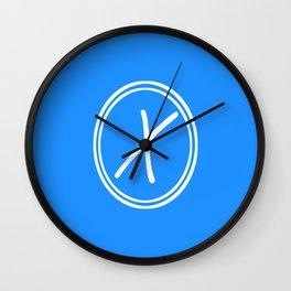 Monogram - Letter X on Dodger Blue Background Wall Clock