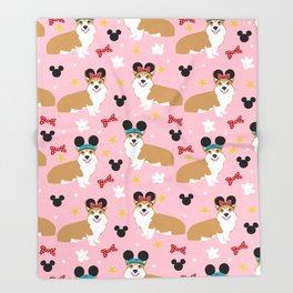 Corgi theme park lover dog breed pattern gifts Throw Blanket
