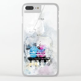 Lovers on a ski lift Clear iPhone Case