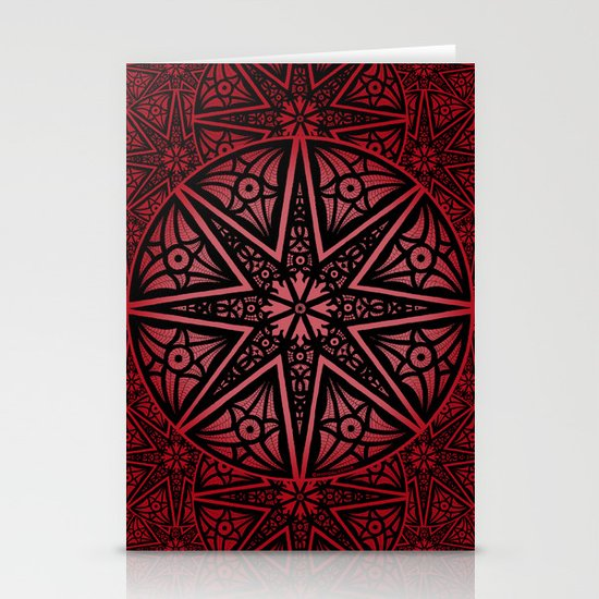 rashim red star mandala Stationery Cards