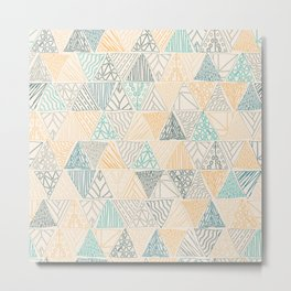 Hand Drawn Geometric Triangle Pattern Design - Green and Yellow Metal Print