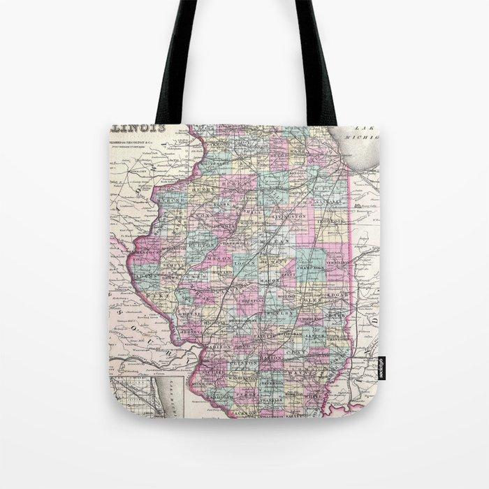 Vintage Map of Illinois (1855) Tote Bag