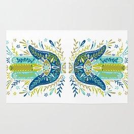 Hamsa Hand – Lime, Turquoise & Navy Palette Rug
