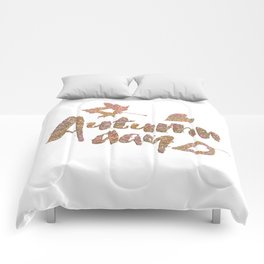 Autumn - Autumn day- glitter typography on white background Comforters