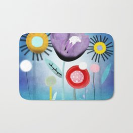 Blue Ombre Floral Art Bath Mat