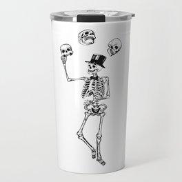 Skeleton juggles skulls Death Travel Mug