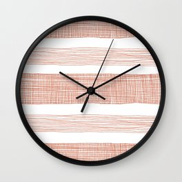 red sketchy stripes Wall Clock