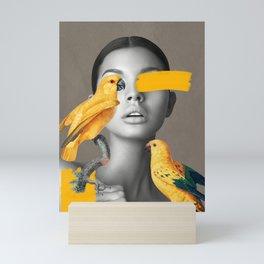 Girl with Parrots Mini Art Print