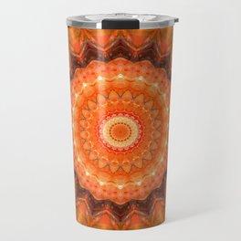 Mandala orange brown Travel Mug
