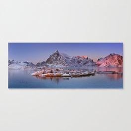 Reine on the Lofoten islands in northern Norway in winter Canvas Print