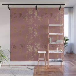 Mauve pink faux gold wildflowers illustration Wall Mural
