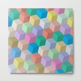 Pastel Colored Perspective Cubes Metal Print