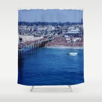 1984 Shower Curtains featuring O.P. Pro Surfing Contest H.B. Pier 1984 by John Lyman Photos