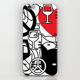 Peace, Love, Wine and Cats iPhone Skin