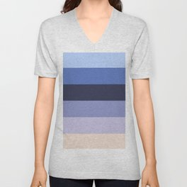 Modern geometric ivory lilac stripes pattern Unisex V-Neck