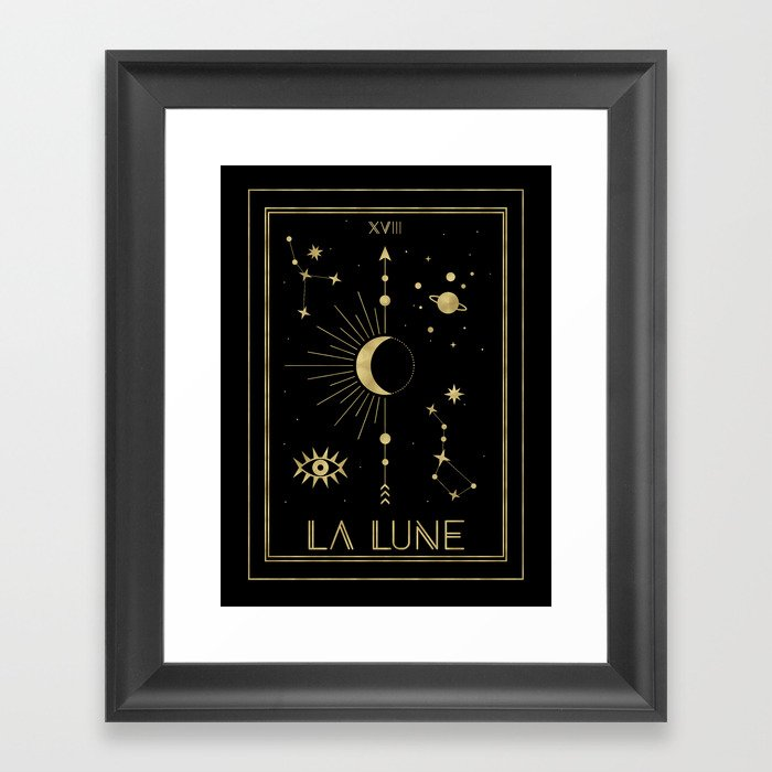The Moon or La Lune Gold Edition Gerahmter Kunstdruck