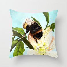 Bee on flower 4 Throw Pillow
