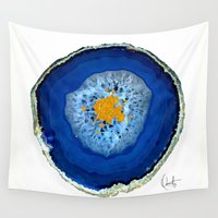 agate Wall Tapestries featuring Agate Blue  by Xchange Art Studio