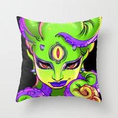 Tentacle Demoness (GREEN version) Throw Pillow