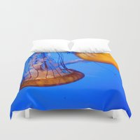 jelly fish Duvet Covers featuring Jelly Fish by World Photos by Paola