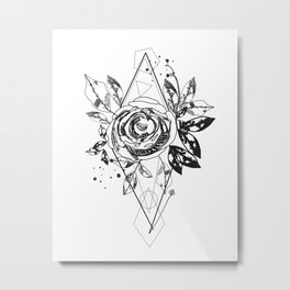 Abstract rose silhouette. Triangle geometric shapes and rose. Summer time abstract black flowers Metal Print