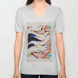 Rainbow Waves by Pierre Blanchard Unisex V-Neck