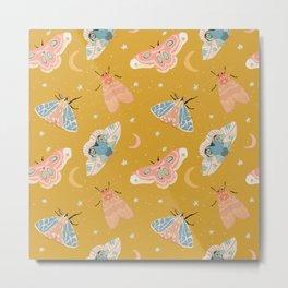 Moth & Moon Pattern - Gold Metal Print