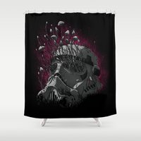 trooper Shower Curtains featuring Shroom Trooper by angrymonk