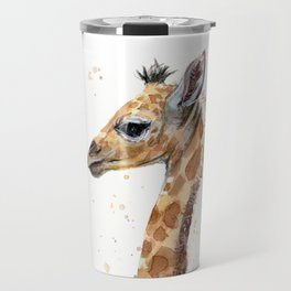 Giraffe Watercolor Cute Baby Animals Travel Mug