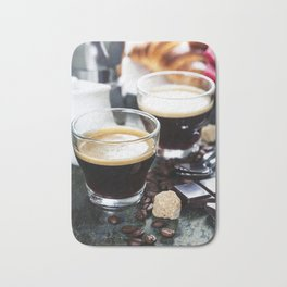 Breakfast with coffee and croissants Bath Mat