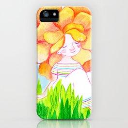 Peachy Rose Flower Girl iPhone Case