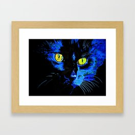 Marley The Cat Portrait With Striking Yellow Eyes Framed Art Print