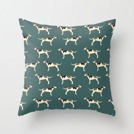Tree Walker Coonhounds in Green Throw Pillow