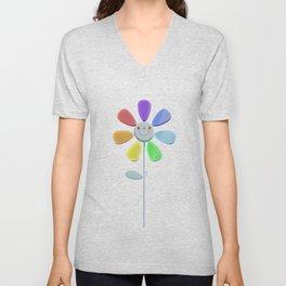 Rainbow Flower 2 Unisex V-Neck