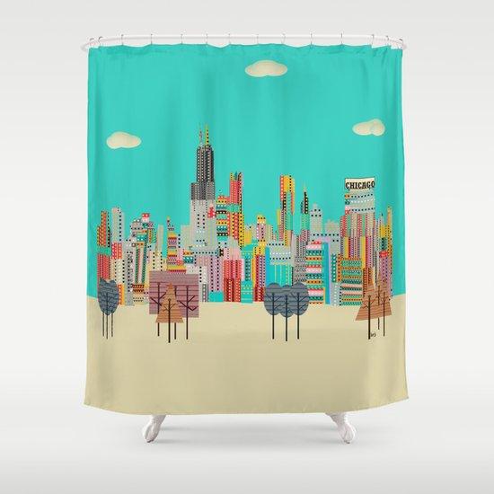 Chicago city (summer days) Shower Curtain
