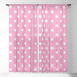 Pink & White Polka Dots Sheer Curtain