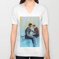 sterek V-neck T-shirts featuring sterek by AkiMao