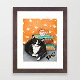 Cats, Tea, and Books Framed Art Print