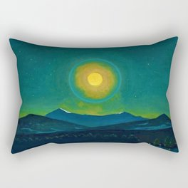 Winter Moonlight Mountain Landscape by Rockwell Kent Appalachian Rectangular Pillow