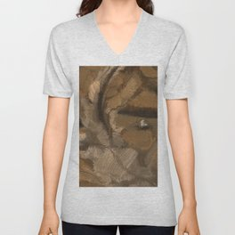 Feather Impressionistic Tan Brown Painting Abstract Realism of Native American Dreamcatcher Unisex V-Neck